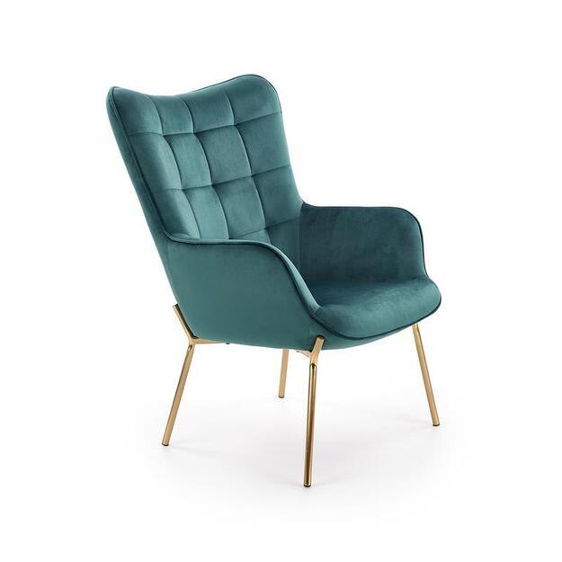 CASTEL 2 poilsio fotelis auksinis/ tamsiai žalias