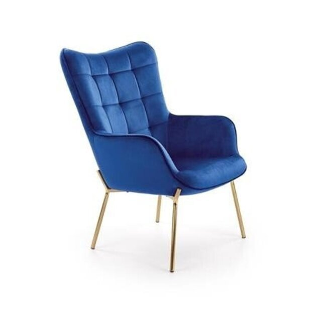CASTEL 2 poilsio fotelis auksinis / tamsiai mėlynas