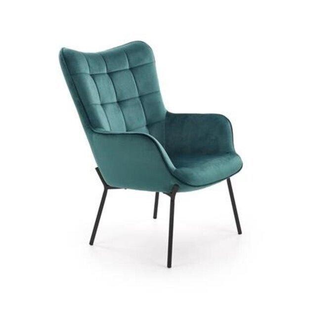 CASTEL poilsio fotelis juodas / tamsiai žalias