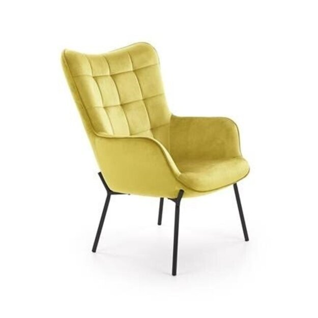 CASTEL poilsio fotelis juodas / garstyčių